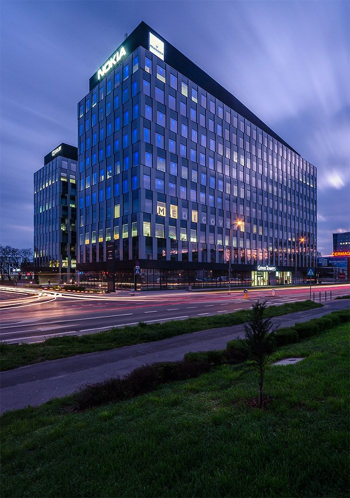 Biurowce Green Towers we Wrocławiu.  Green Towers Offices in Wroclaw.