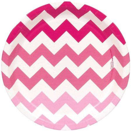 Chevron Pink Dinner Plates, Pack of 8