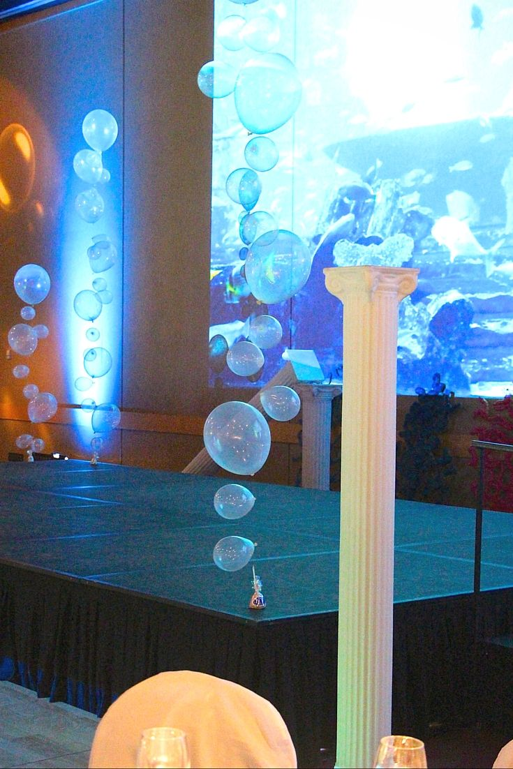 This stage is dressed in our roman columns and balloon art bubbles. The under water image in the screen ties this it all together.