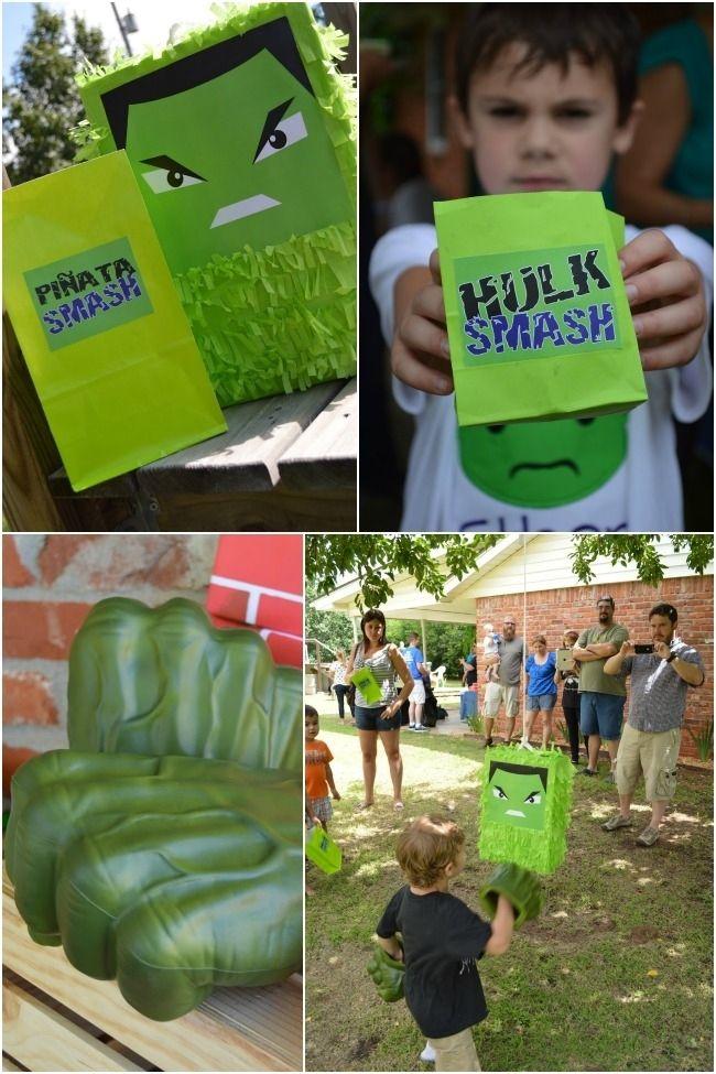 Incredible Hulk Superhero Party Pinata Ideas www.spaceshipsandlaserbeams.com
