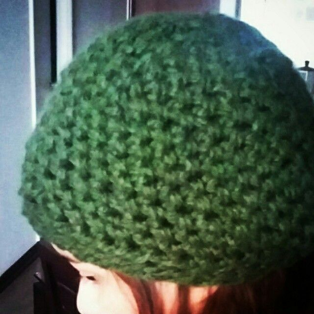 Crochet green hat