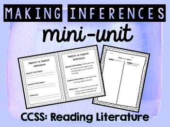 "Making Inferences :: This is a  differentiated & Common Core aligned mini-unit that reviews making inferences with upper elementary/middle school students! It also introduces the vocabulary terms ""explicit"" and ""implicit"" information.Included in this pack:- Teaching Guide- List of partner resources/texts- Implicit, Explicit, & Inference definition sheets- Implicit vs."