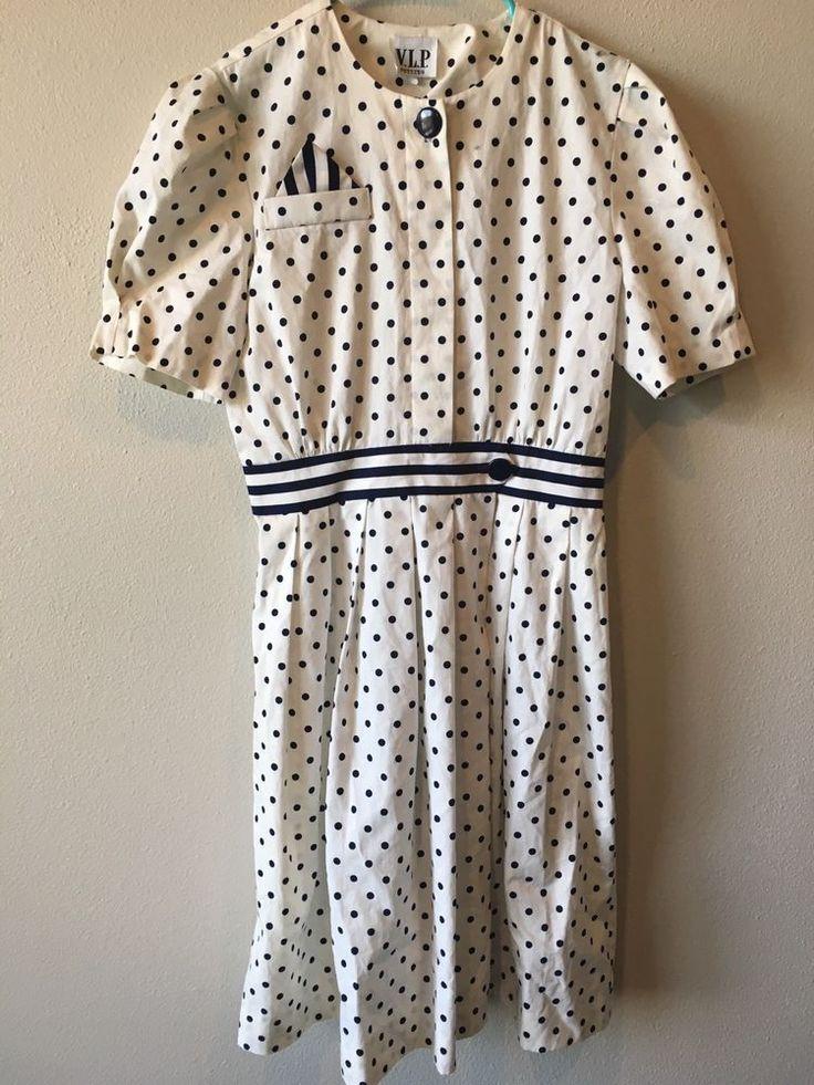 VTG V.L.P. Petites Size 12 Womens Black White Polka Dots Aline Dress VLV Dapper  #Unbranded #AsymmetricalHem