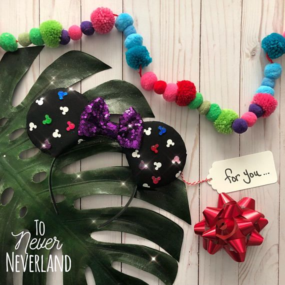 Mickey Ears, Mickey Mouse Ears, Mickey Mouse Ears Headband, Disney Inspired Ears, Mickey Ears, Mickey Head Ears, Mickey Silhouette Ears Be a part of the magic with these handmade, Disney inspired Mickey Ears! The base the ears is a cotton Mickey heads fabric. Scattered throughout