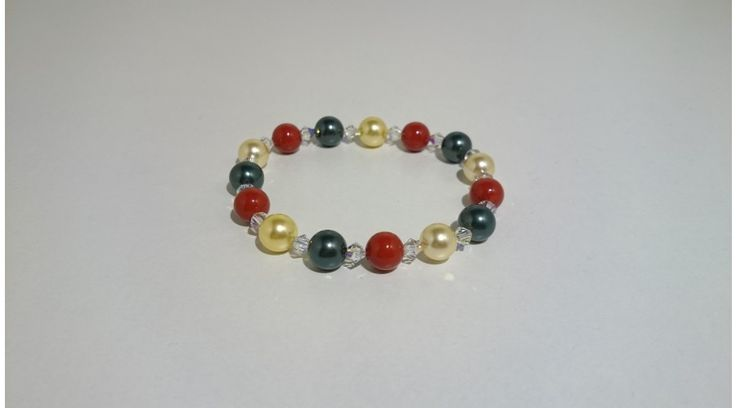 Arany-Piros-Olajzöld Shell Pearl gyöngy karkötő swarovski kristállyal - Karkötők - FMGyöngy - Utazás a gyöngyök világába