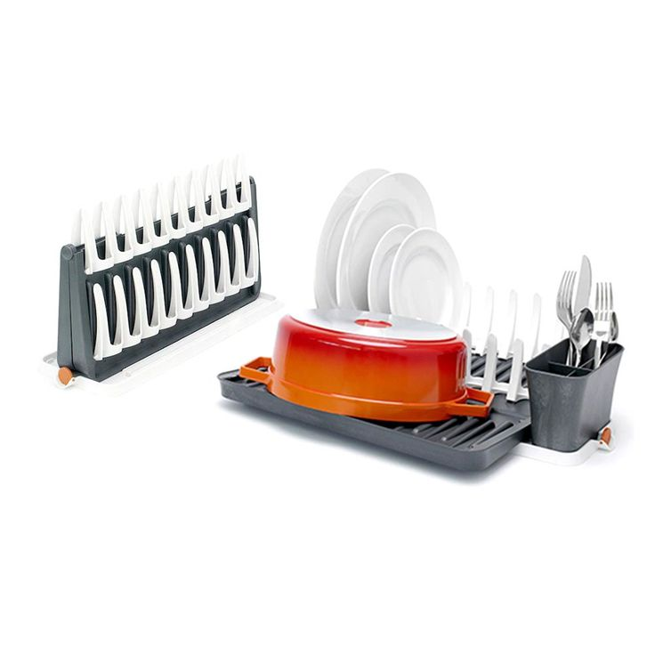 designed for small kitchens this rack dries your dishes on the counter when done