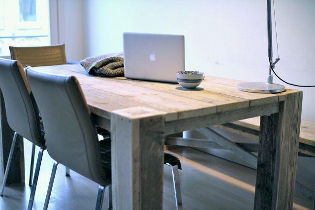 custom built wooden table and wooden picnic bench.: Crtv Workspaces, Rustic Wooden, Living Spaces, Wooden Picnic, Living Room Tables, Wood Table, Wooden Furniture, Wooden Table