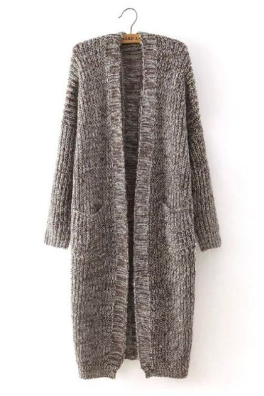 Brown Long Knitted Open Cardigan