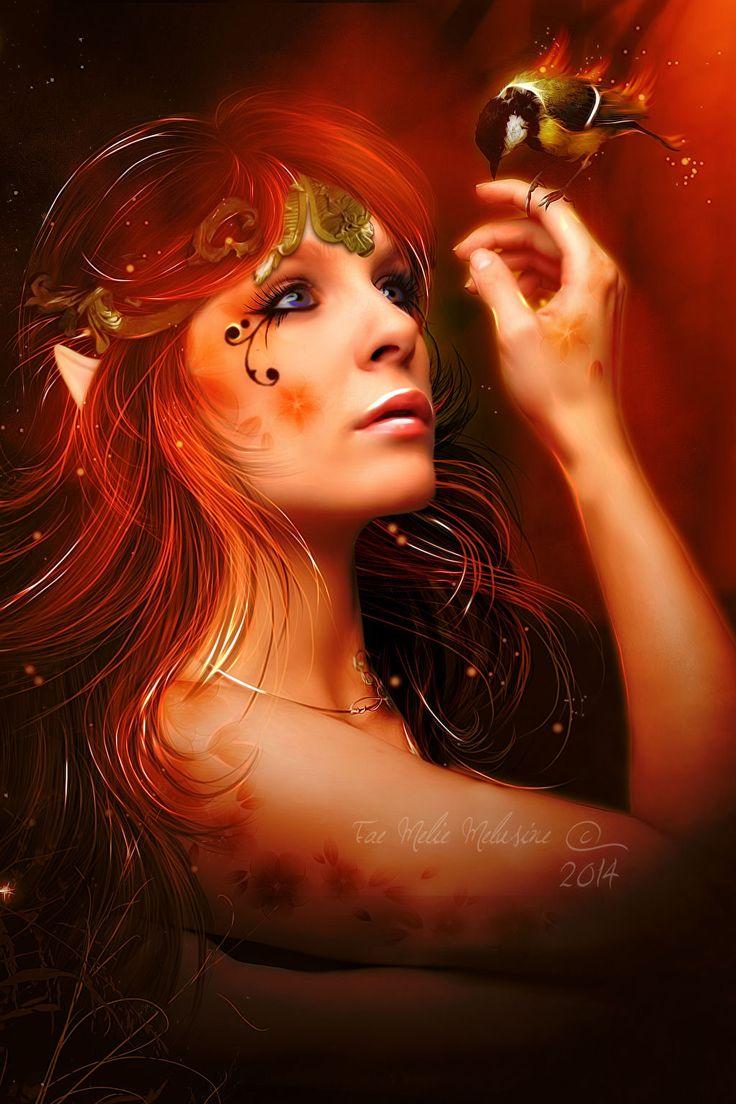 Red Elven and little Bird by Fae-Melie-Melusine on deviantART