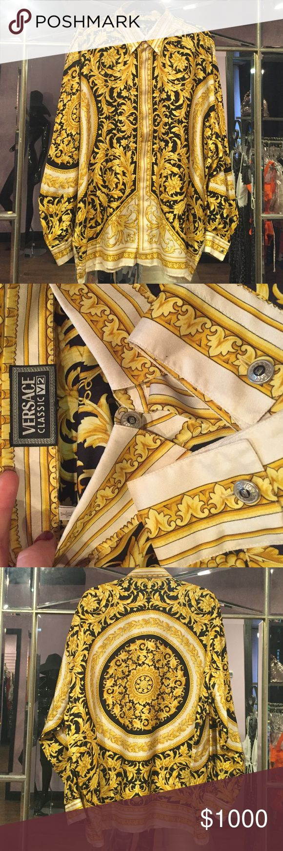 ⚜️ Versace Vintage Silk Shirt In perfect flawless condition authentic Versace %100 Silk Shirt. Size XL ⚜️ Versace Shirts Dress Shirts