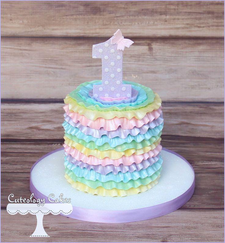 Pastel rainbow ruffles smash cake for a 1st birthday. www.facebook.com/i.love.cuteology.cakes