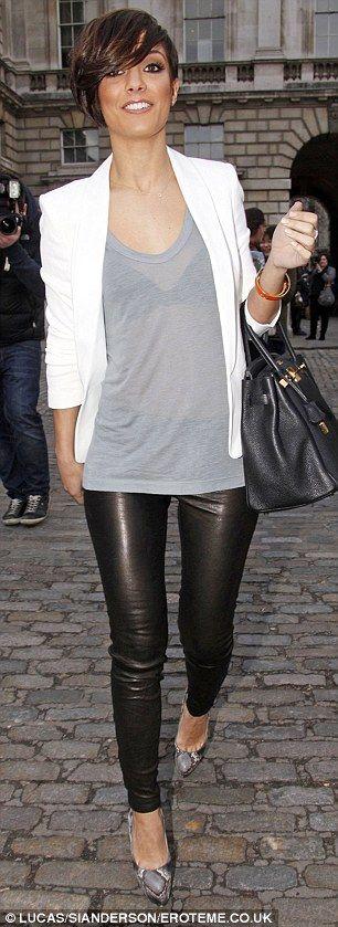 cream blazer, reg t, black leather leggings and pumps. love.