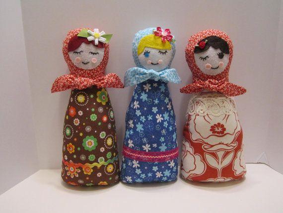 Russian Babushka Matryoshka Folk Doll Stuffed Soft by VKVDesigns