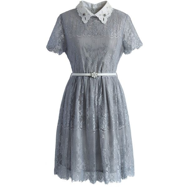 Chicwish Delicate Lace Dress with Beads Collar in Grey (91 NZD) ❤ liked on Polyvore featuring dresses, grey, grey dress, lace collar dress, floral print dress, gray lace dress and line dress