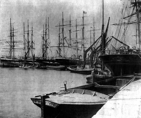 East India Company Dockyard in Deptford when the docks were home to tea clippers