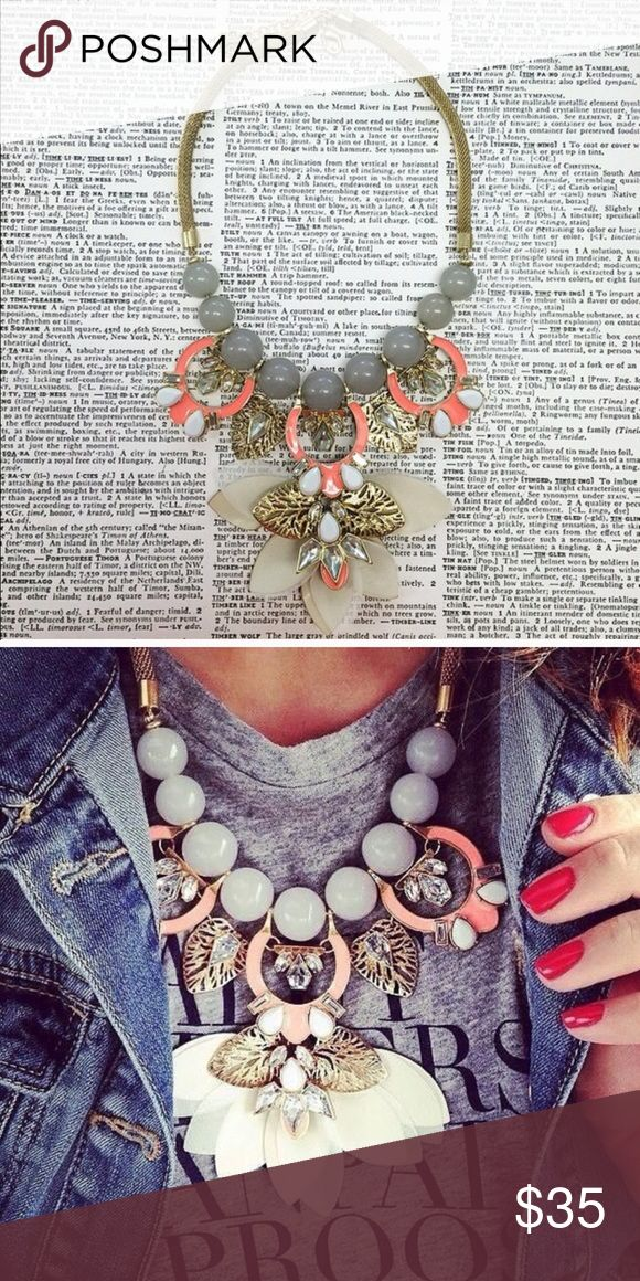 Emily bloom Necklace Stunning coral necklace with silk and leather ivory details. Gray soft round beads. NWT retail Hwl boutique Jewelry Necklaces