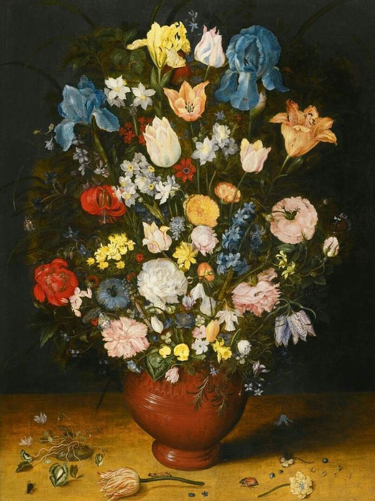 Bouquet in a Clay Vase 1607-08 Oil on panel, 66 x 49 cm Private collection