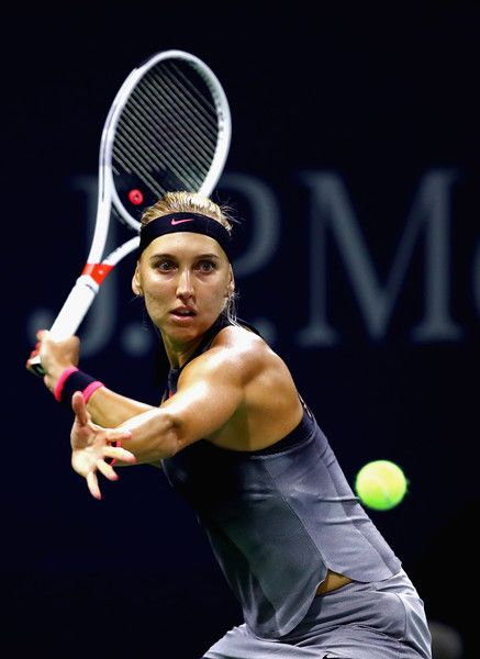 Elena Vesnina of Russia returns a shot against Kirsten Flipkens of Belgium during their second round Women's Singles match on Day Four of the 2017 US Open at the USTA Billie Jean King National Tennis Center on August 31, 2017 in the Flushing neighborhood of the Queens borough of New York City.