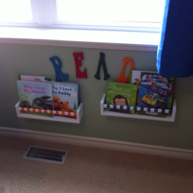 H's 'library' Ikea spice racks and Michaels letters