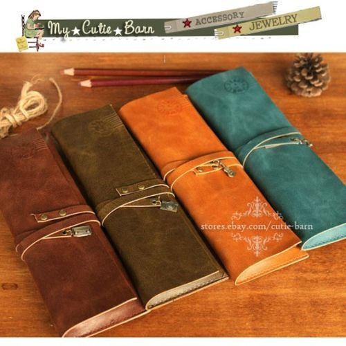 Leather-Wrap-Roll-Up-Pen-Pencil-Cosmetic-Case-Brown-Orange-Turquoise-Camel