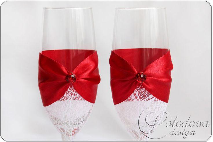"""Купить Свадебные бокалы"""" Шестое чувство"""" - ярко-красный, свадебные бокалы, свадебные аксессуары"""