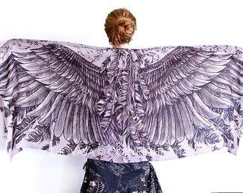 Geométrica bufanda, bufanda de alas de Ángel, bufanda blanca, bufanda de la novia, regalo de boda regalo, pañuelo de la Dama de honor, Boho de Dama de honor, abrigo del Festival de la playa