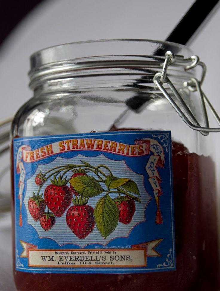 Vintage labels on homemade preserves