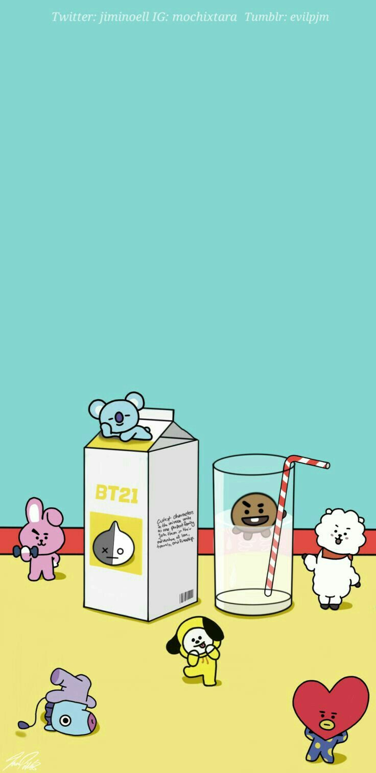 """6 members doing their thing and there is OUR MUSCLE PIG aka BUNNY who is """"exercising"""" even in his BT21 character. WHY COOKIE WHY???? Do you want me to die every time I see those ABS and BICEPS going thicker and thicker. *goes to the corner and cry*"""