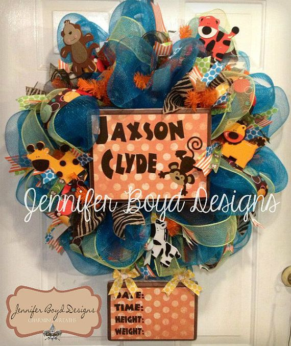 Personalized Baby Safari Jungle Theme Boutique Deco Mesh Wreath for Hospital Door, new baby arrival via Etsy
