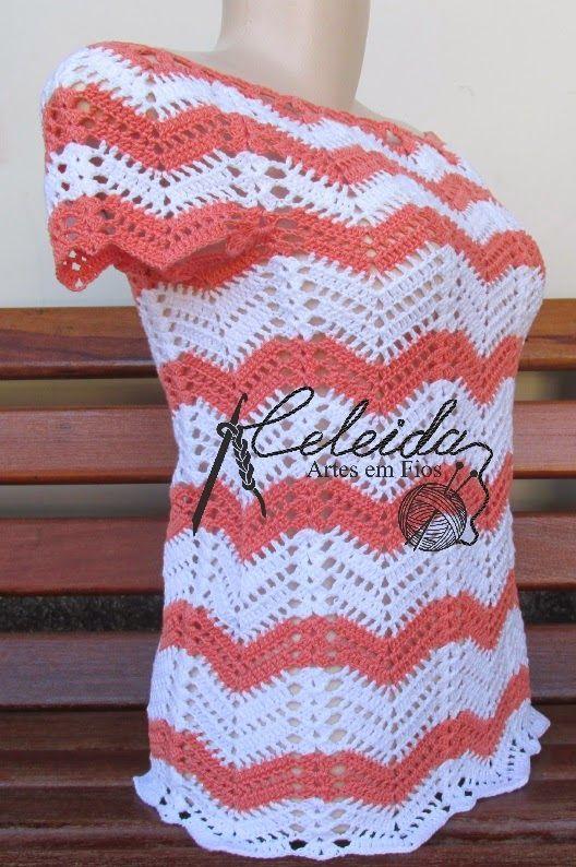Celeida Artes em Fios: Blusa de crochê
