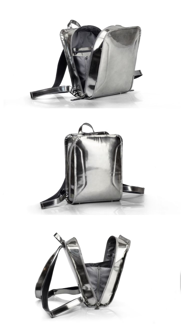 Hand-crafted Futuristic Silver Leather Backpack
