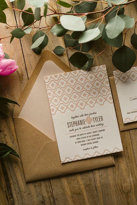 Rustic Wedding Invitation Cameo Pink Kraft by FlairNecessities, $12.50