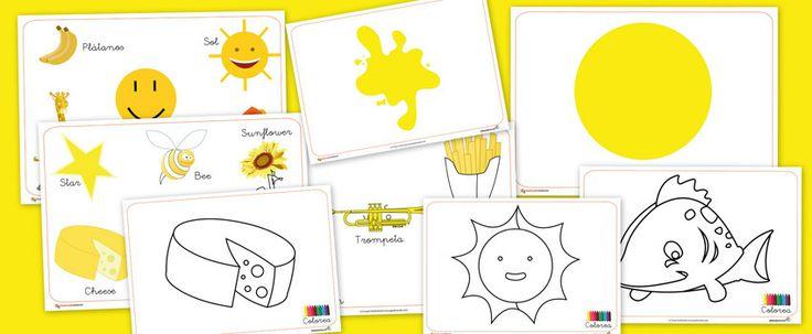 Fichas para aprender, color amarillo