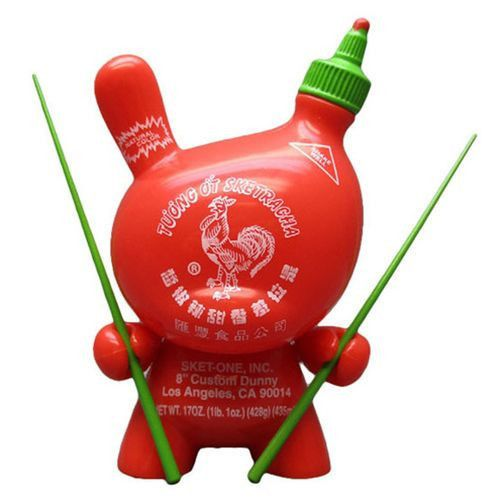 Designed by leading art toy designer and street artist, Sket One. Sketracha is based on Sket One's custom condiment toy project also featuring the famous Sriracha hot sauce. Now available in 3 inch form and apparently..there is a clear chase version as well! Now that's hot. Nice one, Kidrobot! http://bit.ly/1FmdrlQ