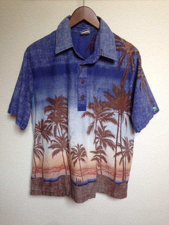 80s vintage Hawaiian aloha shirt, 1980s OFF SHORE, brown blue cotton, palm tree…