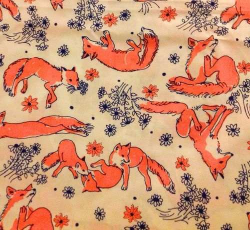 Vintage lilly pulitzer playful foxes fabric by key west for Fox print fabric