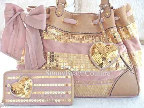 Juicy Couture Sequin Stripe Pink Daydreamer Bag + Wallet