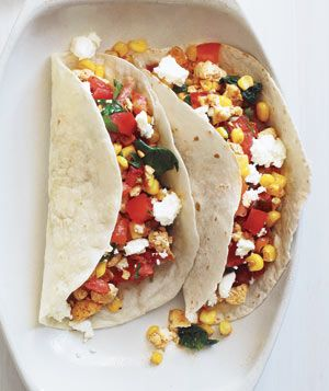 No-knife recipe for Vegetarian Tacos With Goat Cheese.