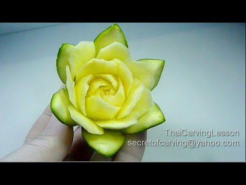 Zucchini Flower Carving Design 1,Lesson 14 for Beginners,แกะสลัก ซูกินี่ เป็นดอกไม้แบบที่ 1 - YouTube