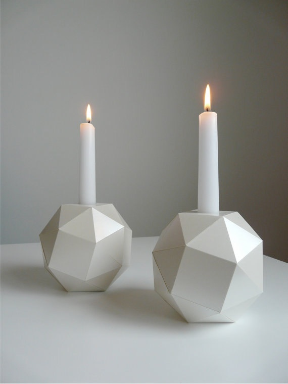 Polyhedron Candlesticks, Mother of Pearl Origami, Set of 2