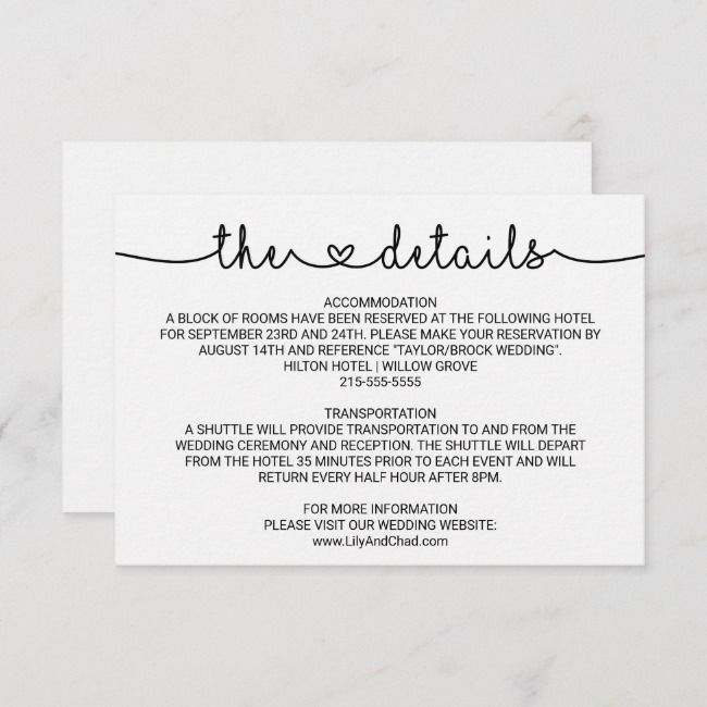 Simple Elegant Wedding Details Card In 2021 Wedding Details Card Wedding Invitation Card Design Simple Elegant Wedding
