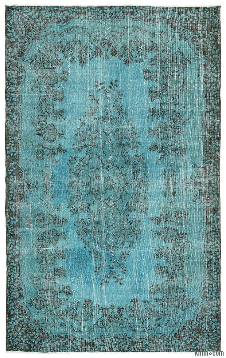 "For a contemporary look with abstract appeal, this turquoise over-dyed rug is skillfully crafted by the revitalization of a hand knotted vintage Turkish rug. Made from wool on cotton, this ""distressed"" rug measures 172 cm x 283 cm. The process in creating these works of art begins by shearing to lower the pile and to help ""distress"" them. They then undergo a series of processes to remove the color. They are now ready to be dyed in one color, a stage that can be repeated several times to rea…"