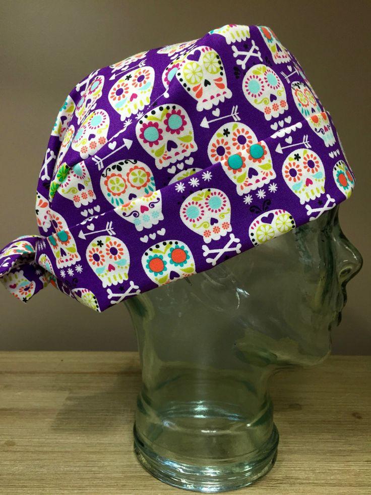 Custom Caps Company Purple Candy Skull Scrub Cap, Women's Surgical Scrub Cap, Pixie Tie Back Scrub Cap by CustomCapsCompany on Etsy