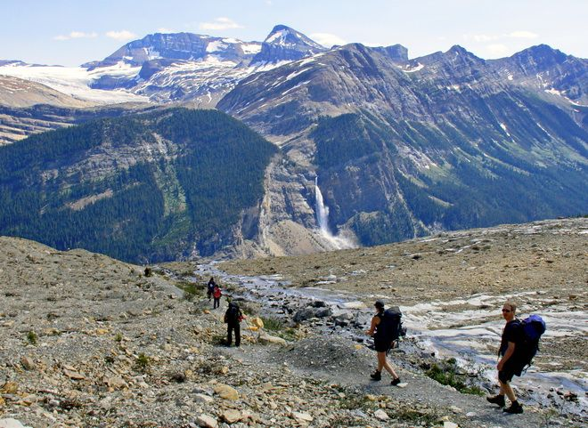 Hiking on the Iceline Trail - with a view of Takakkaw Falls, Yoho National Park - 10 of my favourite one day hikes in BC and Alberta
