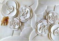Customized 3d Photo Wallpaper Modern Art Abstract White Rose As TV Background For Living Room