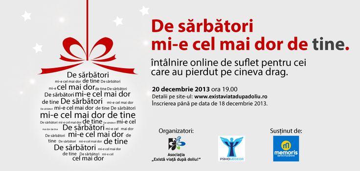 Intalnire online pentru cei care au persoane #decedate: De sarbatori mi-e cel mai dor de tine. http://www.memoris.ro/blog/despre-speranta-in-doliu/