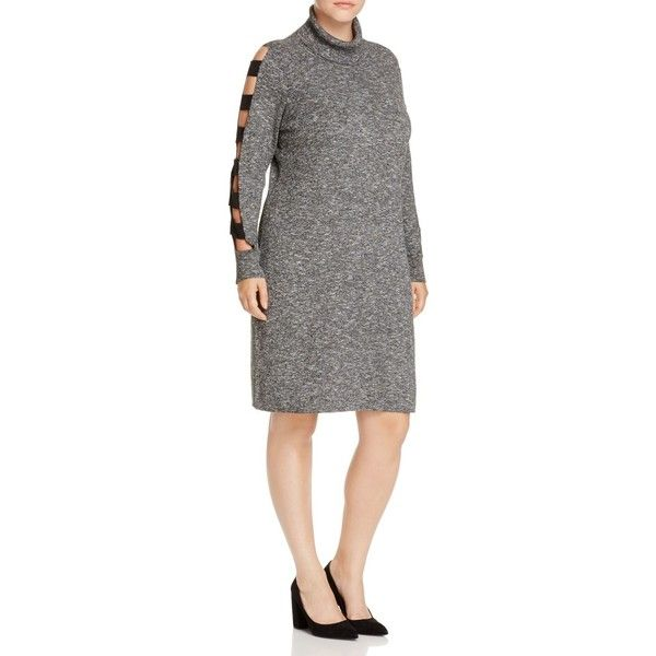 Love Scarlett Plus Ladder Cutout Sleeve Sweater Dress ($105) ❤ liked on Polyvore featuring plus size women's fashion, plus size clothing, plus size dresses, charcoal, charcoal grey dress, charcoal dress, cut out sleeve dress, cutout dresses and charcoal gray dress
