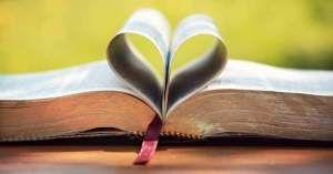 santa biblia catolica hojas adorno corazon medio