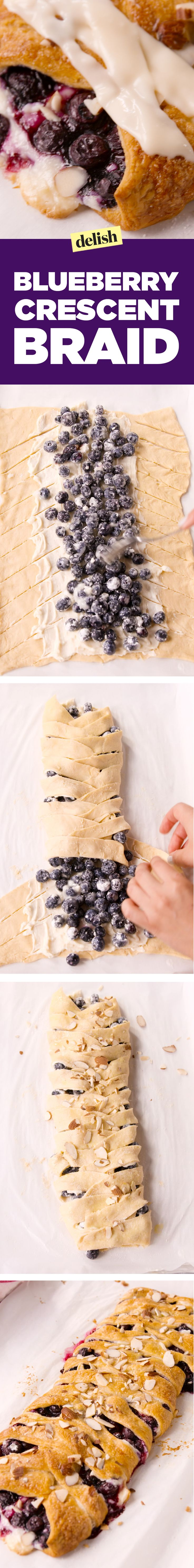This blueberry crescent braid will impress everyone at your brunch. Get the recipe on Delish.com.