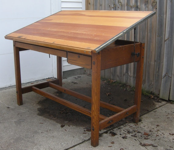 1940's Drafting Table. My dad had one of these and I used to draw on it when I was a kid. WANT!